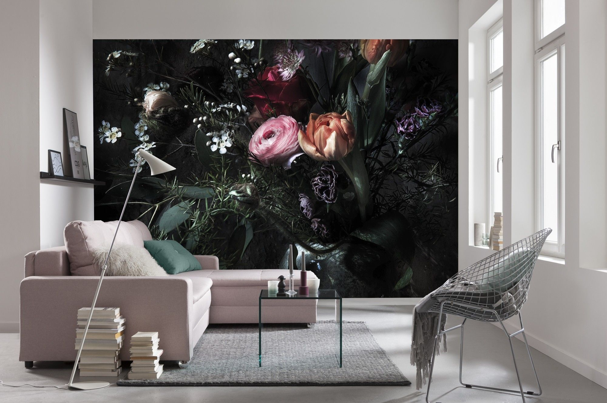 Black photo wallpaper Feature wall Flowers